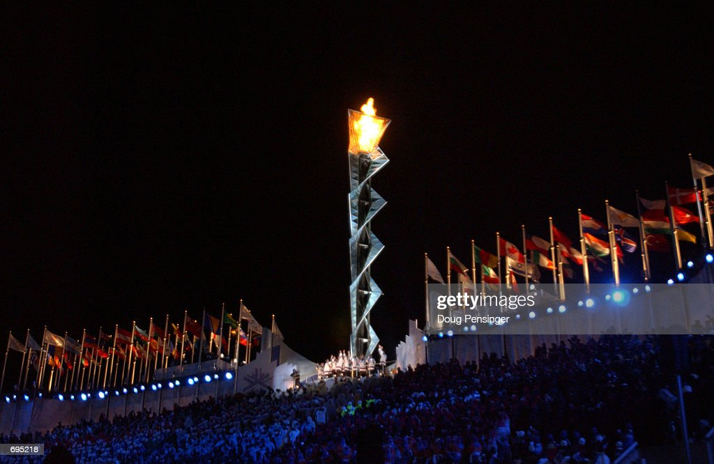The Olympic flame burns at the Opening Ceremony of the 2002 Salt Lake City Winter Olympic Games at the Rice-Eccles Olympic Stadium February 8, 2002 in Salt Lake City, UT.