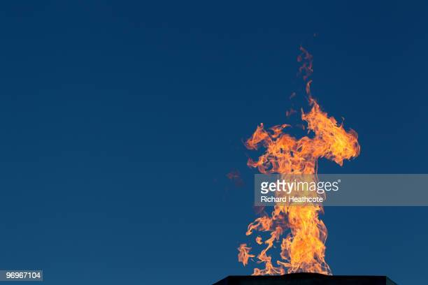 The Olympic Flame burns at the Whistler Medals Plaza on day 9 of the Vancouver 2010 Winter Olympics at Whistler Medals Plaza on February 20 2010 in...