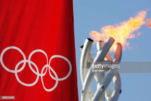 The Olympic flame burns during Day 1 of the Turin 2006 Winter Olympic Games on February 11, 2006 in Turin, Italy.