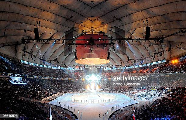 The Olympic flame burns in multiflame cauldron during the Opening Ceremony of the 2010 Vancouver Winter Olympics at BC Place on February 12 2010 in...