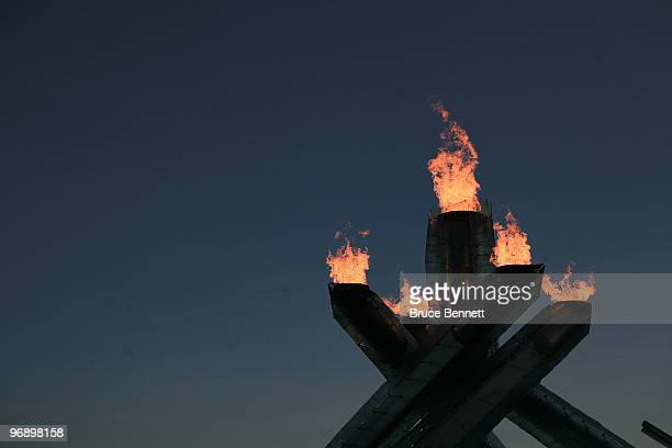 The Olympic flame burns in the cauldron at the start of day 9 of the Vancouver 2010 Winter Olympics on February 20, 2010 in Vancouver, Canada.