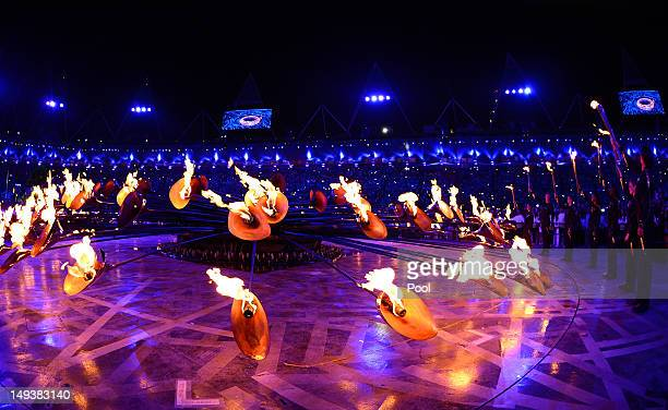 The Olympic flame burns in the cauldron during the Opening Ceremony of the London 2012 Olympic Games at the Olympic Stadium on July 27 2012 in London...