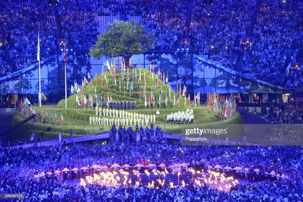 The Olympic flame burns in the cauldron during the Opening Ceremony of the London 2012 Olympic Games at the Olympic Stadium on July 27, 2012 in London, England.