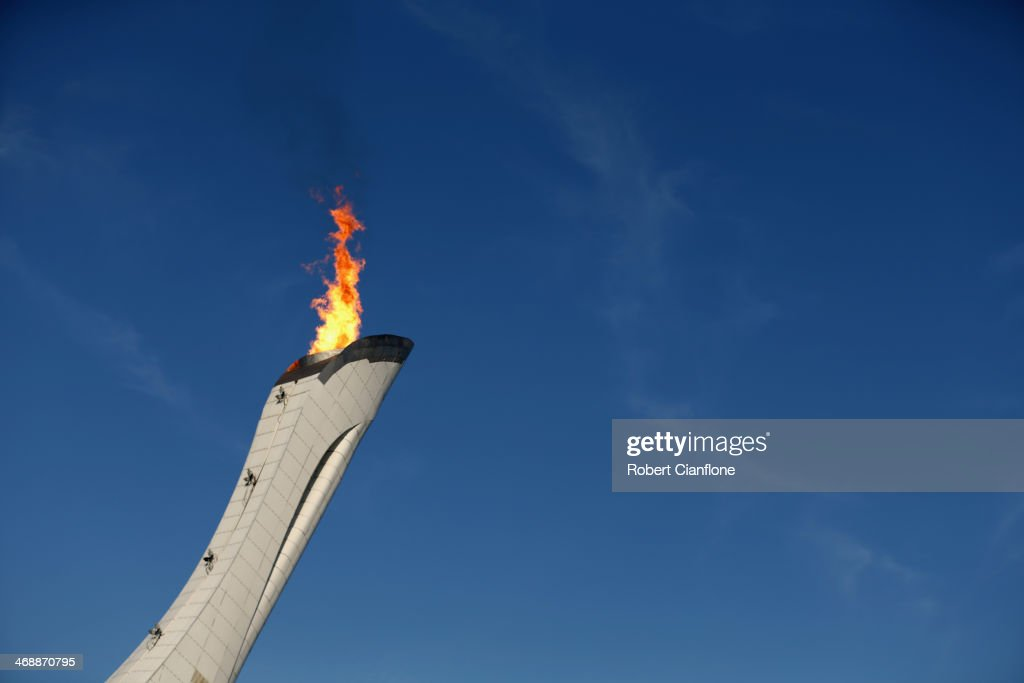 The Olympic flame burns in the cauldron on day five of the Sochi 2014 Winter Olympics on February 12, 2014 in Sochi, Russia.