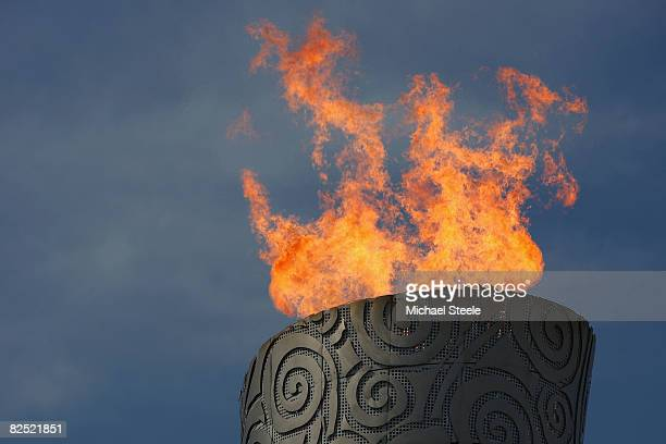 The Olympic Flame during the Men's Gold Medal football match between Nigeria and Argentina at the National Stadium on Day 15 of the Beijing 2008...