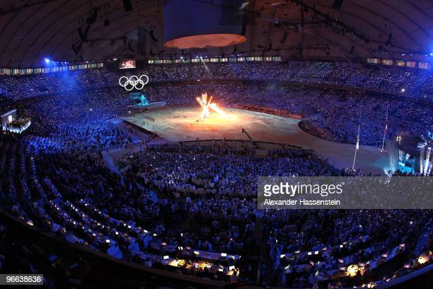 The Olympic flame is alight in a multiflame cauldron during the Opening Ceremony of the 2010 Vancouver Winter Olympics at BC Place on February 12,...