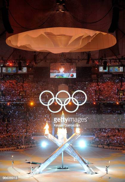 The Olympic flame is alight in multiflame cauldron during the Opening Ceremony of the 2010 Vancouver Winter Olympics at BC Place on February 12, 2010...