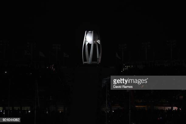 The Olympic flame is extinguished near the conclusion of the Closing Ceremony of the PyeongChang 2018 Winter Olympic Games at PyeongChang Olympic...