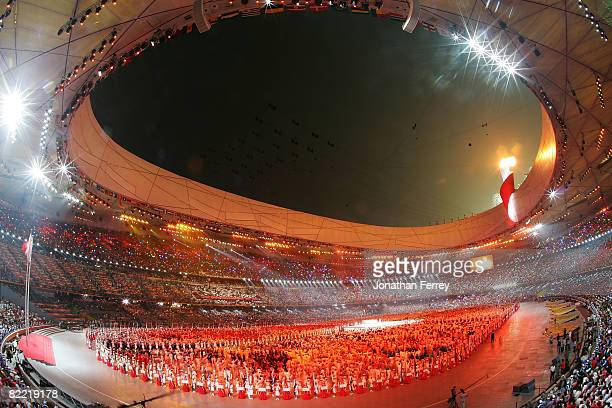 The Olympic flame is lit by Li Ning, former Olympic gymnast for China, during the Opening Ceremony for the 2008 Beijing Summer Olympics at the...
