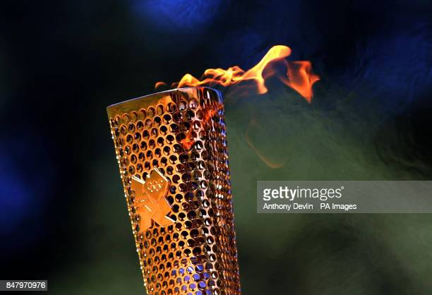 The Olympic Flame is lit during a rehearsal for tomorrow's ceremony which signals to the world that the countdown to the London 2012 Games has begun...