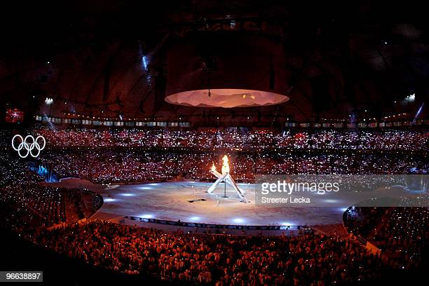 The Olympic flame is lit during the Opening Ceremony of the 2010 Vancouver Winter Olympics at BC Place on February 12, 2010 in Vancouver, Canada.