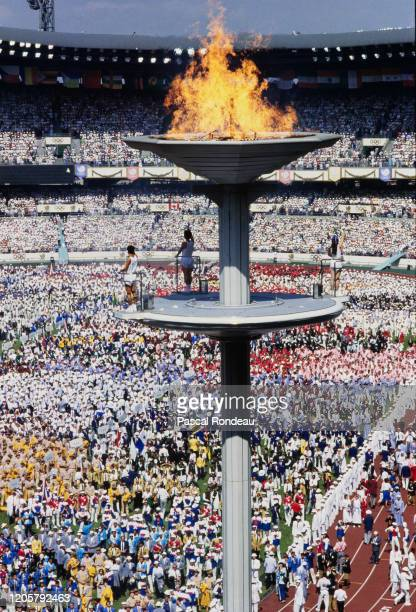 The Olympic flame is lit during the Opening Ceremony of the XXIV Summer Olympic Games on 17th September 1988 at the Seoul Olympic Stadium in Seoul...