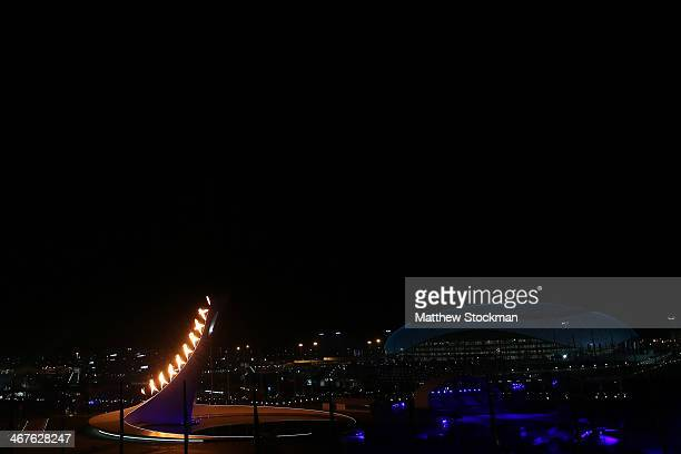 The Olympic flame is lit in Olympic Park during the Opening Ceremony of the Sochi 2014 Winter Olympics at Fisht Olympic Stadium on February 7 2014 in...