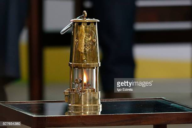 The Olympic flame is on display at a ceremony where the pyre and the Olympic torch are lit to start the relay at the Planalto Palace on May 3 2016 in...