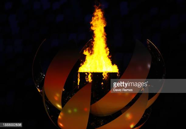 The Olympic Flame is seen before the Closing Ceremony of the Tokyo 2020 Olympic Games at Olympic Stadium on August 08, 2021 in Tokyo, Japan.