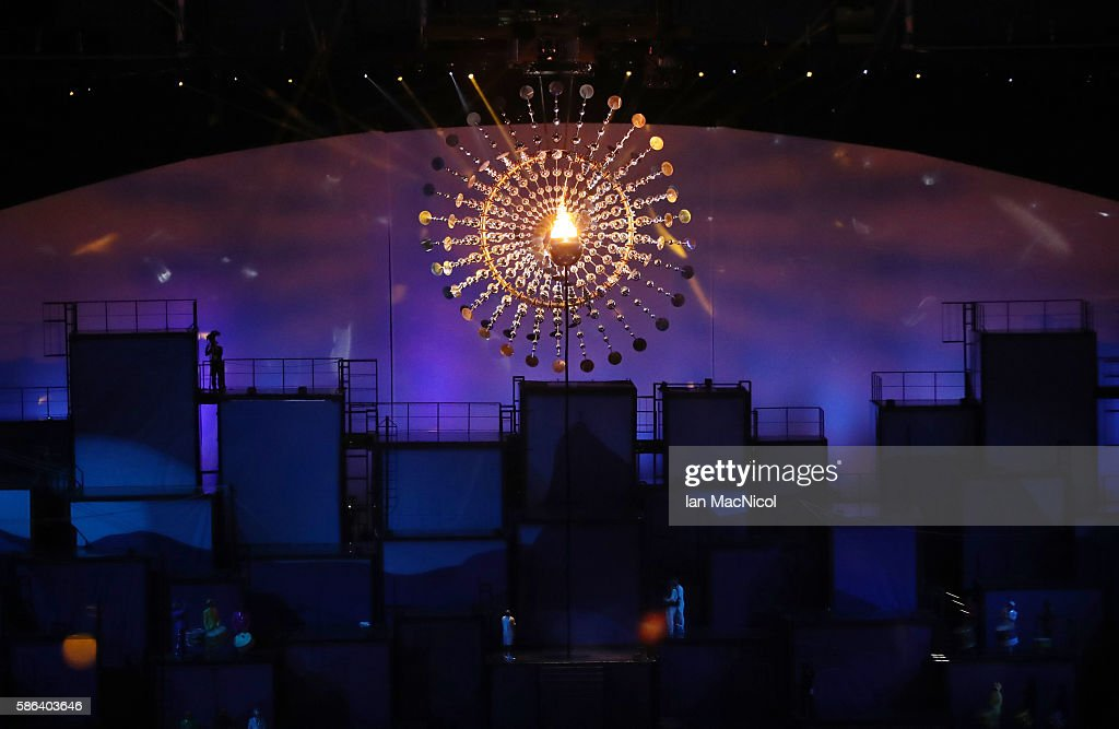 The Olympic Flame is seen during The 2016 Summer Olympics Opening Ceremony at Maracana Stadium on August 5, 2016 in Rio de Janeiro, Brazil.