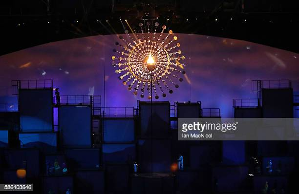 The Olympic Flame is seen during The 2016 Summer Olympics Opening Ceremony at Maracana Stadium on August 5 2016 in Rio de Janeiro Brazil