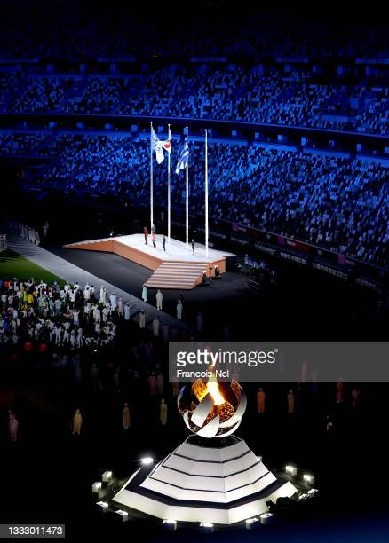 The Olympic Flame is seen during the Closing Ceremony of the Tokyo 2020 Olympic Games at Olympic Stadium on August 08, 2021 in Tokyo, Japan.
