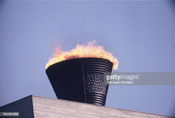 The Olympic Flame is seen during Tokyo Olympic Opening Ceremony at the National Stadium on October 10 1964 in Tokyo Japan