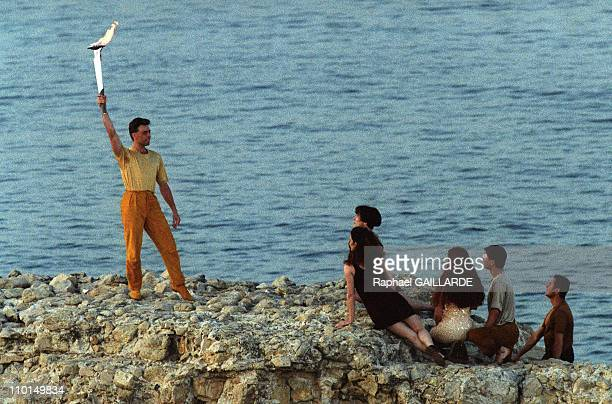 The Olympic flame of the 1992 Summer Games in Barcelona arrived by boat June 13th from Greece and was welcomed by Aung San Suu Kyi son of the Burmese...