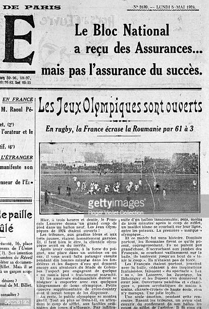 """The Olympic games of Paris 1924. Opening with a match of rugby between France and the Rumania. Newspaper """"L'Oeuvre"""" of the May 5, 1924."""