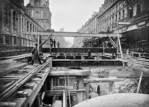 The Olympic Games were held during the Great Exposition in Paris 1900 This image shows construction of the Paris Metro or subway on the rue de Rivoli...