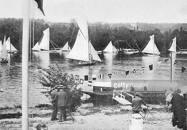 The Olympic Games were held during the Great Exposition in Paris, 1900. This image shows the course for the yachting competition at the bassin de...