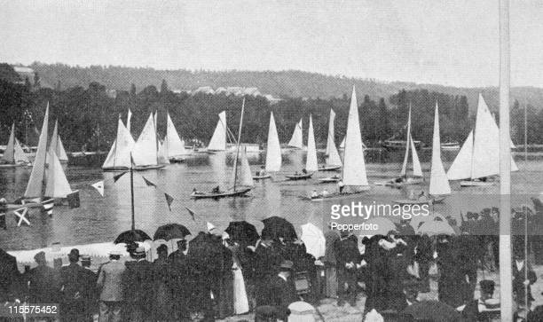 The Olympic Games were held during the Great Exposition in Paris, 1900. This image shows the yachting competion at the bassin de Meulan with...