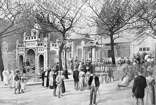 The Olympic Games were held during the Great Exposition in Paris, 1900. This image shows the Indo-China pavilion at Trocadero Park. .