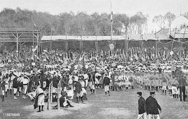 The Olympic Games were held during the Great Exposition in Paris, 1900. This image shows preparations for the gymnastics competition at Vincennes. .