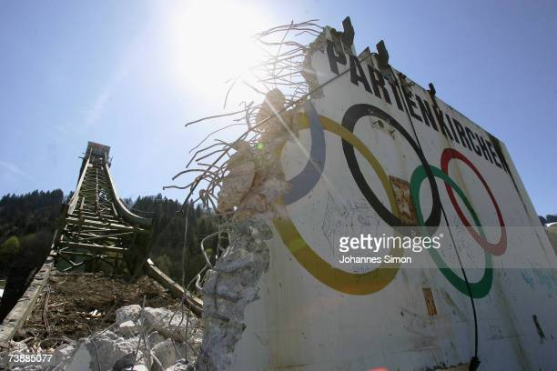 The Olympic hoops are seen at the base of the Garmisch Partenkirchen ski jump after it was demolished by explosives on April 14 2007 in...