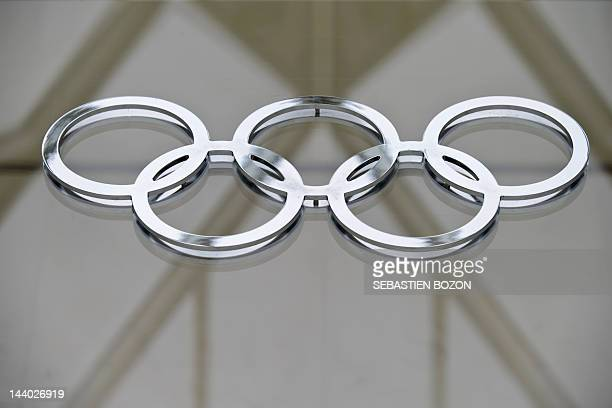 The Olympic logo is pictured in the building of the IOC headquarters in Lausanne on May 8 2012 AFP PHOTO/ SEBASTIEN BOZON