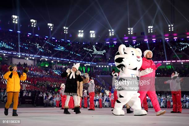 The Olympic mascot Soohorang waves to the crowd during the Opening Ceremony of the PyeongChang 2018 Winter Olympic Games at PyeongChang Olympic...