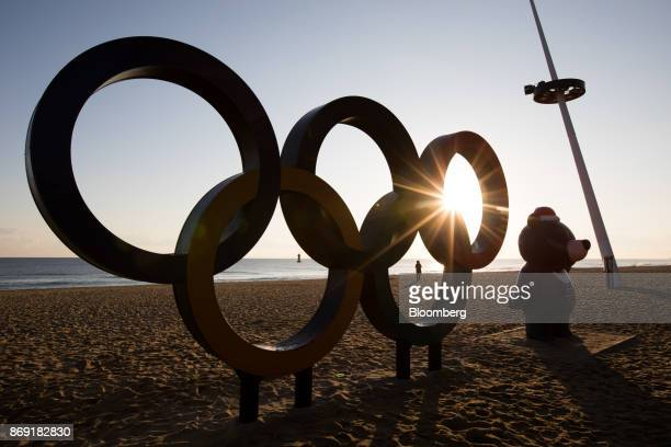The Olympic rings and a statue of the 2018 PyeongChang Winter Olympic Games mascot Bandabi stand at Gyeongpo beach near the Gangneung Ice Arena one...