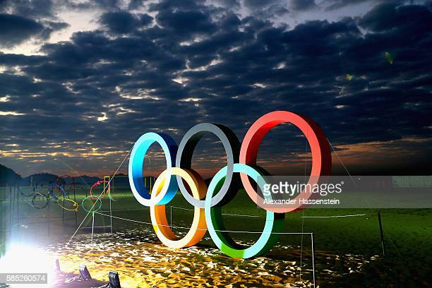 The Olympic Rings are displayed at the Copacabana beach ahead of the Rio 2016 Olympic Games on August 2 2016 in Rio de Janeiro Brazil