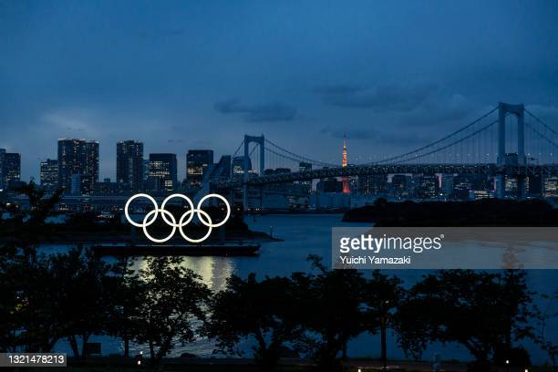 The Olympic Rings are displayed by the Odaiba Marine Park Olympic venue on June 03, 2021 in Tokyo, Japan. Tokyo 2020 president Seiko Hashimoto has...