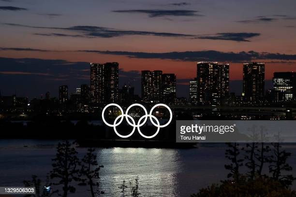 The Olympic Rings are displayed by the Odaiba Marine Park Olympic venue ahead of the Tokyo 2020 Olympic Games on July 19, 2021 in Tokyo, Japan.