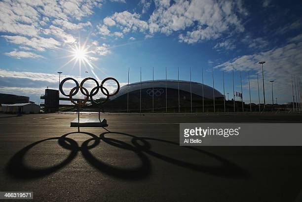 The Olympic Rings are displayed in front of the Bolshoy Ice Dome inside the Olympic Park prior to the Sochi 2014 Winter Olympics at on February 1...