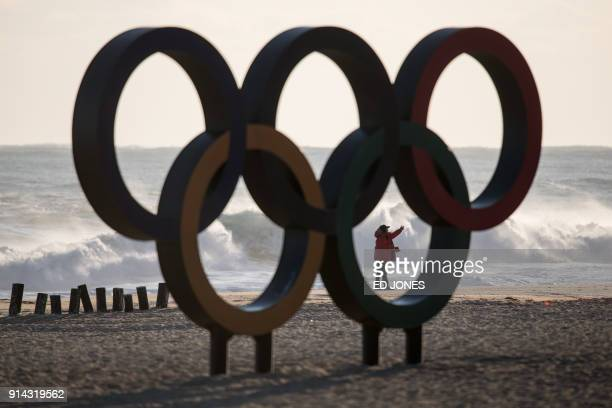 The Olympic Rings are displayed on Gyeongpo beach in Gangneung the host city of the ice venues for the Pyeongchang 2018 Winter Olympic Games on...