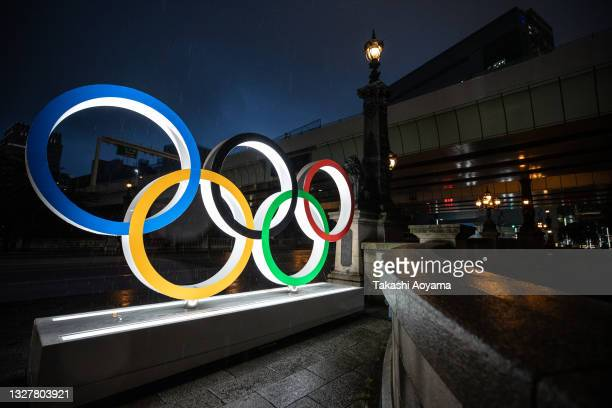 The Olympic Rings are displayed on July 09, 2021 in Tokyo, Japan. Tokyo Olympic organizers stated yesterday that spectators would be barred from most...