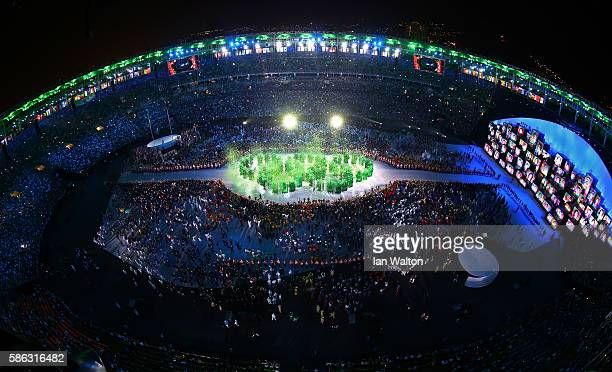 The Olympic Rings are formed during the Opening Ceremony of the Rio 2016 Olympic Games at Maracana Stadium on August 5 2016 in Rio de Janeiro Brazil