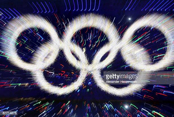 The Olympic rings are illuminated during the Opening Ceremony for the 2008 Beijing Summer Olympics at the National Stadium on August 8 2008 in...