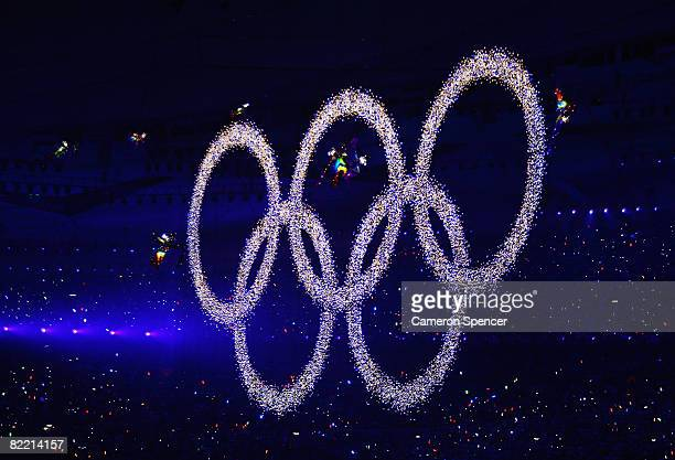 The Olympic rings are pictured during the Opening Ceremony for the 2008 Beijing Summer Olympics at the National Stadium on August 8 2008 in Beijing...