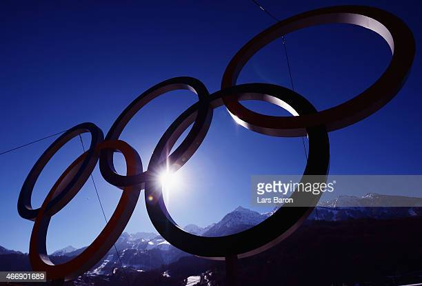 The Olympic Rings are pictured in the Rosa Khutor Mountain Cluster village ahead of the Sochi 2014 Winter Olympics on February 5 2014 in Sochi Russia