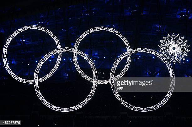 The Olympic rings are presented during the Opening Ceremony of the Sochi Winter Olympics at the Fisht Olympic Stadium on February 7 2014 in Sochi