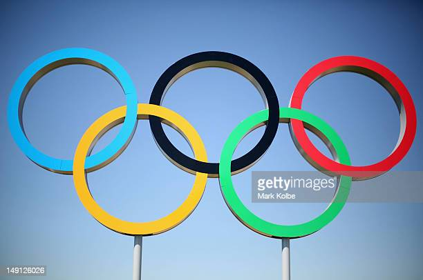 The Olympic rings are seen ahead of the London Olympic Games at the Olympic Park on July 23, 2012 in London, England.