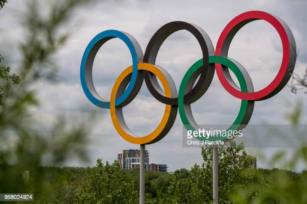 The Olympic rings are seen at Olympic Park as it is announced that Dame Tessa Jowell has died on May 13 2018 in London England Tessa Jowell was a...