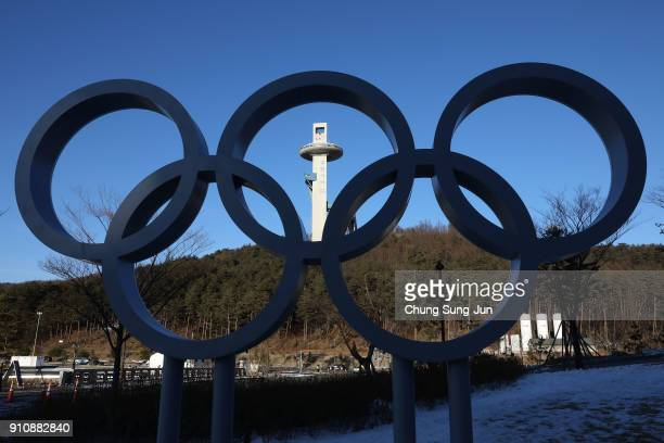 The Olympic Rings are seen at the Alpensia Resort venue for the MPC ahead of PyeongChang 2018 Winter Olympic Games on January 27 2018 in...