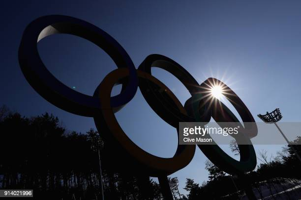 The Olympic rings are seen at the Alpesia Cross Country Centre during previews ahead of the PyeongChang 2018 Winter Olympic Games at Alpensia on...