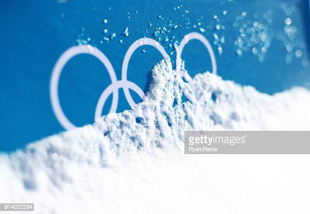 The Olympic Rings are seen during previews ahead of the PyeongChang 2018 Winter Olympic Games at Alpensia Cross Country Centre on February 4 2018 in...